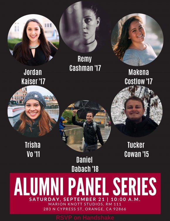 six alumni panelists