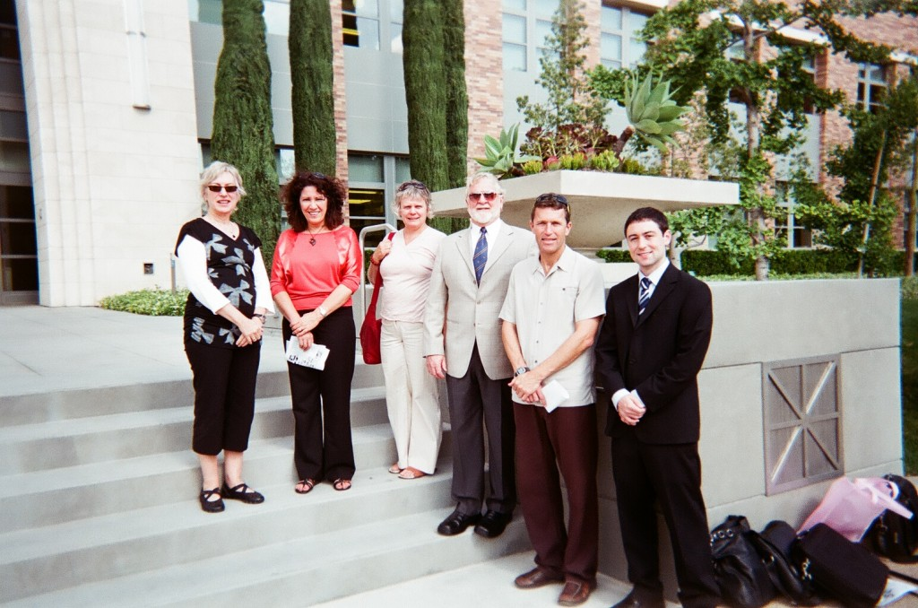 Six visitors from the University of Waikato tour the campus