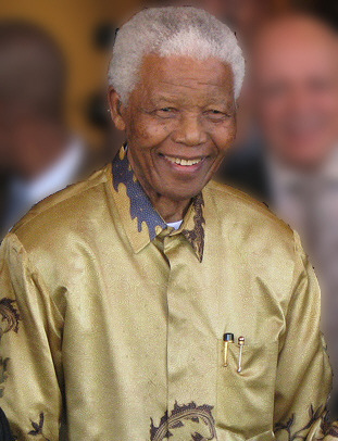 Nelson Mandela smiling.