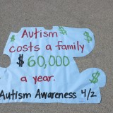Sign shaped like a puzzle piece for autism awareness.