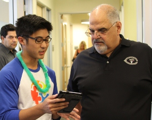 Jared Izumi (left) with Dean Donald Cardinal (right), Ph.D.