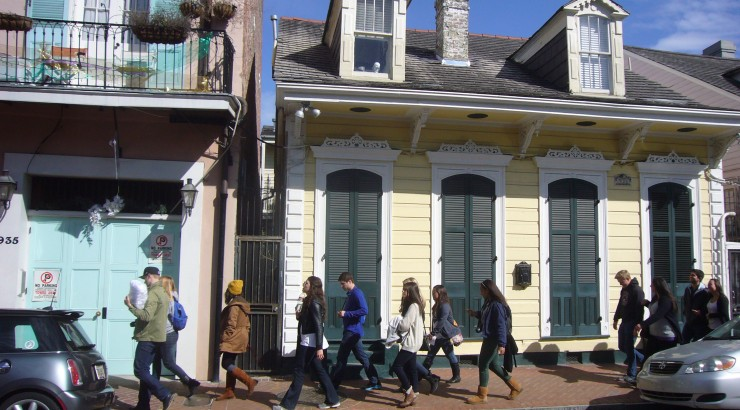 Students walking through New Orleans.