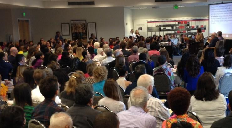 Crowd watching Nita speak