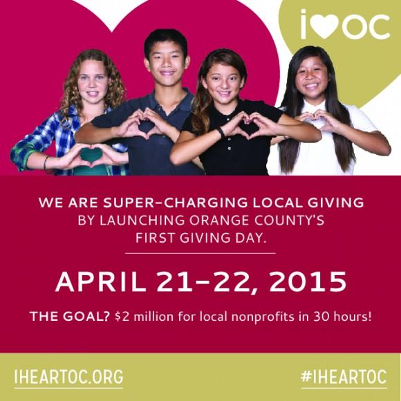 Flyer for I Heart OC Giving Day.