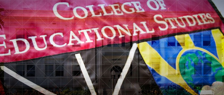 College of Educational Studies flag with building overlapped.