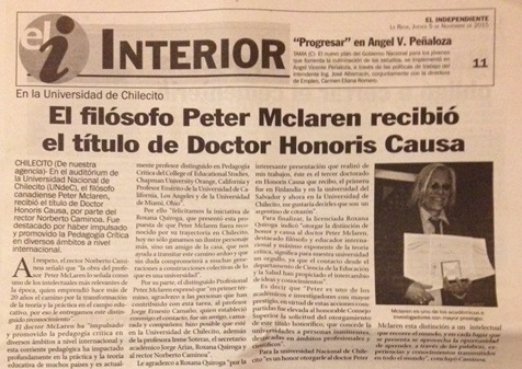 Copy of El Interior newspaper.