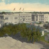 Orange Union High School color postcard, 1920