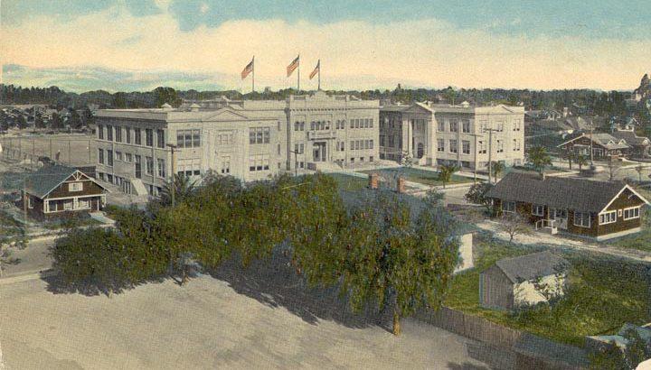 Orange Union High School color postcard, 1920