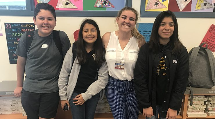 Yorba middle school students and Chapman mentor