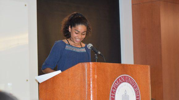 Yorba student presenting her work