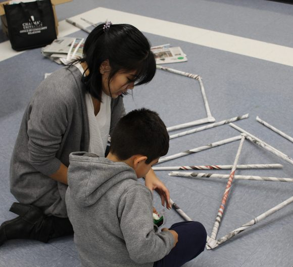 Students building 3D math models