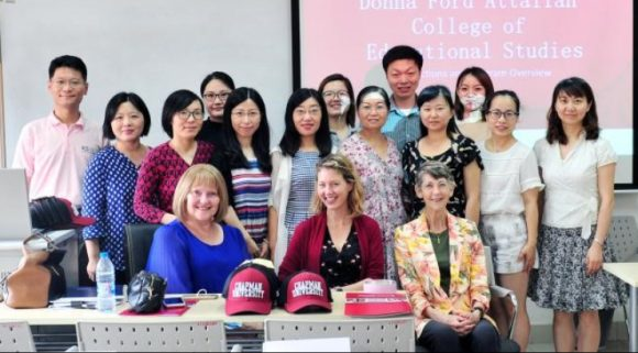 Attallah Dr. Dawn Hunter, Dr. Kelly Kennedy, and Dean Margaret Grogan met with SNU students in Shanghai in July 2018