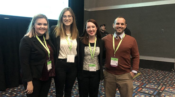 Attallah's Dr. Noah Golden and IES students at 2018 NCTE Convention