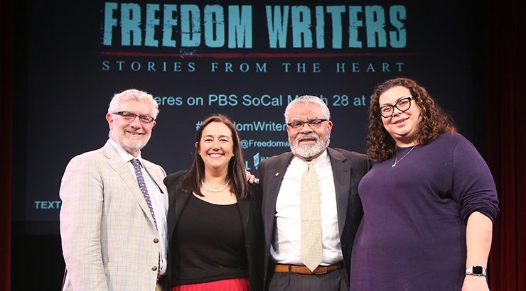 Freedom Writers panelists Daniiele Struppa, Erin Gruwell, Carl Cohn, and Sue Ellen Alpizar
