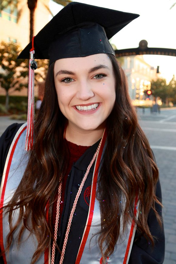 Amanda Moore in cap and gown at Chapman University Commencement