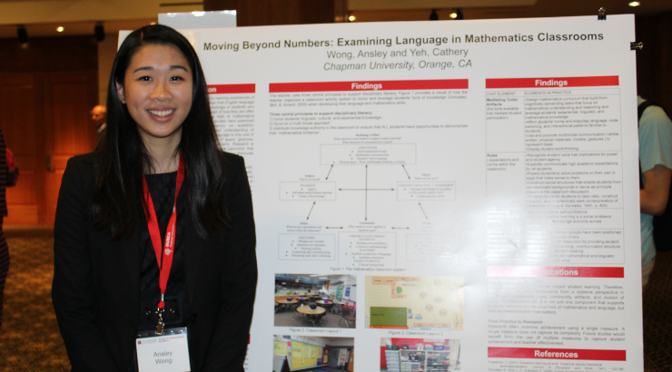 Ansley Wong presenting research poster