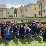 Group picture of Yorba-Chapman Writing Partnership field trip to Chapman in front of Memorial Hall