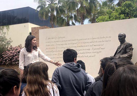 Yorba-Chapman Writing Partnership tour group of the Chapman Orange campus