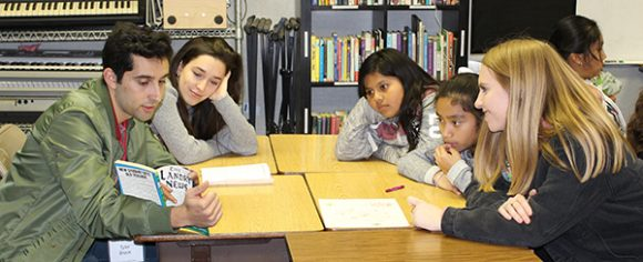 Chapman students reading to Higher Ground kids