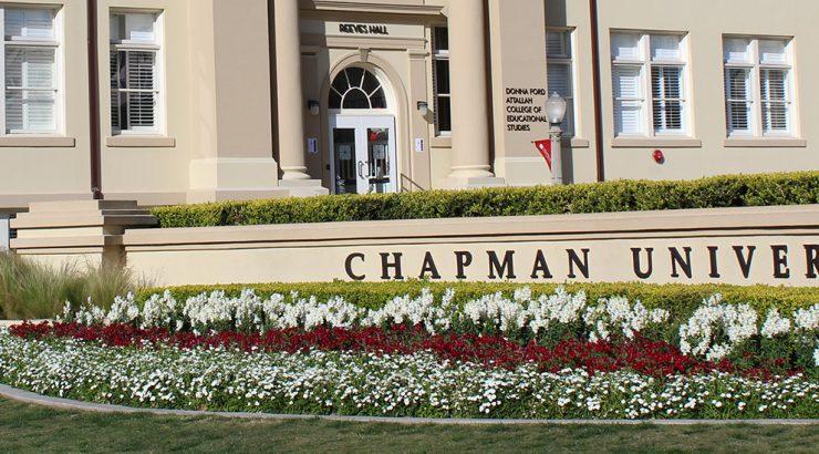Reeve Hall behind Chapman sign