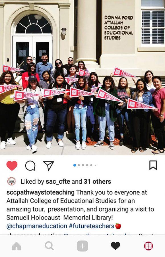 Santiago Canyon CollegePathways to Teaching Program Instagram post
