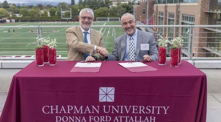 Chapman President Daniele Struppa and Santiago Canyon College President John Hernandez signing C-TAG for Future Educators agreement