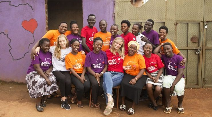 Sarah Nininger '13 at Action in Africa community center in Nakuwadde, Uganda