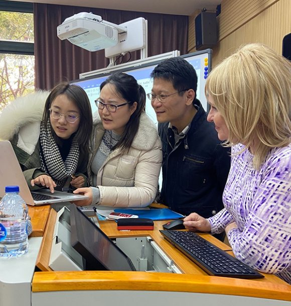 Dr. Dawn Hunter in Shanghai with Chapman-SNU Ph.D. students in January 2020