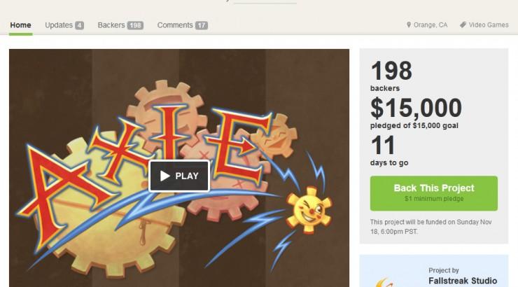 Screen shot of Axle's Kickstarter page.