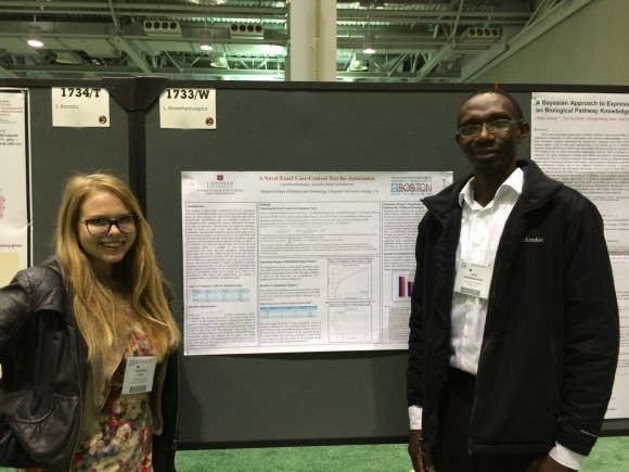 Computational Science students Louis Ehwerhemuepha and Alexandria Smith (photo attached) traveled to Boston to make a poster presentation on October 23 at the Annual Meeting of the American Society of Human Genetics (ASHG)