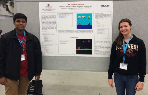 """Sakthisundar """"Sakthi"""" Kasthurirengan (left) and Kathleen """"Katie"""" Lamkin (right) successfully presented their work at this year's Python Conference (PyCon 2014) in Montreal, Canada."""
