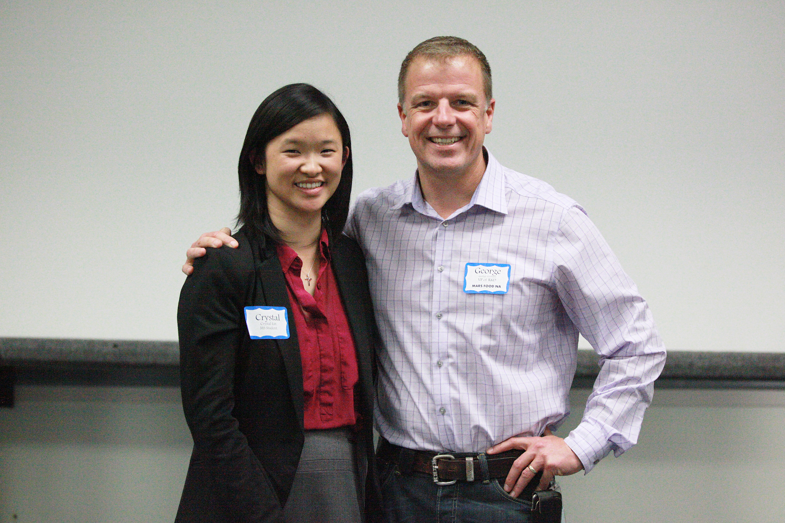 Crystal Lin and George Graham, VP of Research and Development for Mars Food NA, invited to speak about how networking has helped him advance his career.