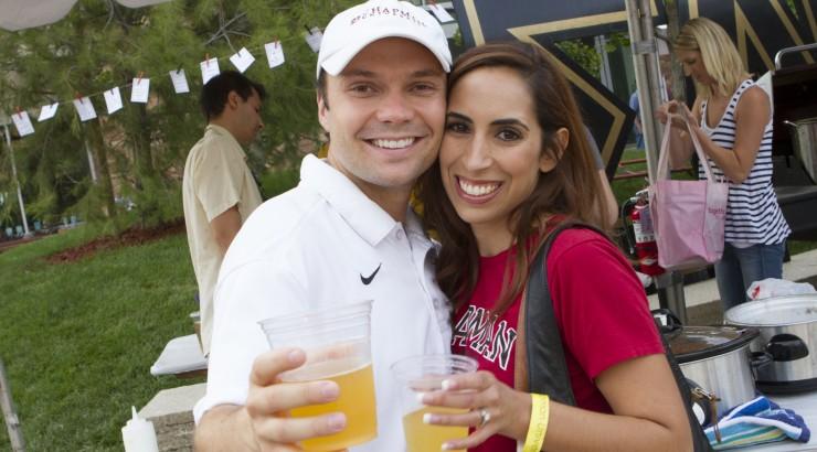 David May drinking beer