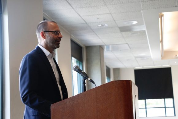 Dean Lyon speaking at the Capstone Presentations