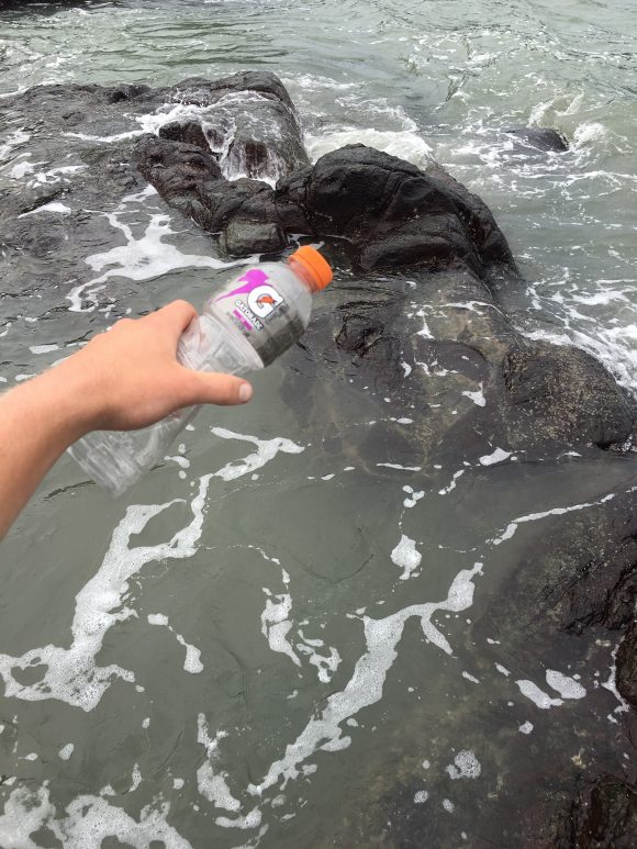What initially appears to be a Gatorade bottle is actually a makeshift fishing rod!!!