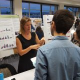 Jennifer Funk talks to students about her research on invasive and non-invasive plants.