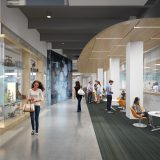 Rendering of the Center for Science and Technology 1st floor lobby.