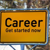"road sign saying ""career: get started now"""
