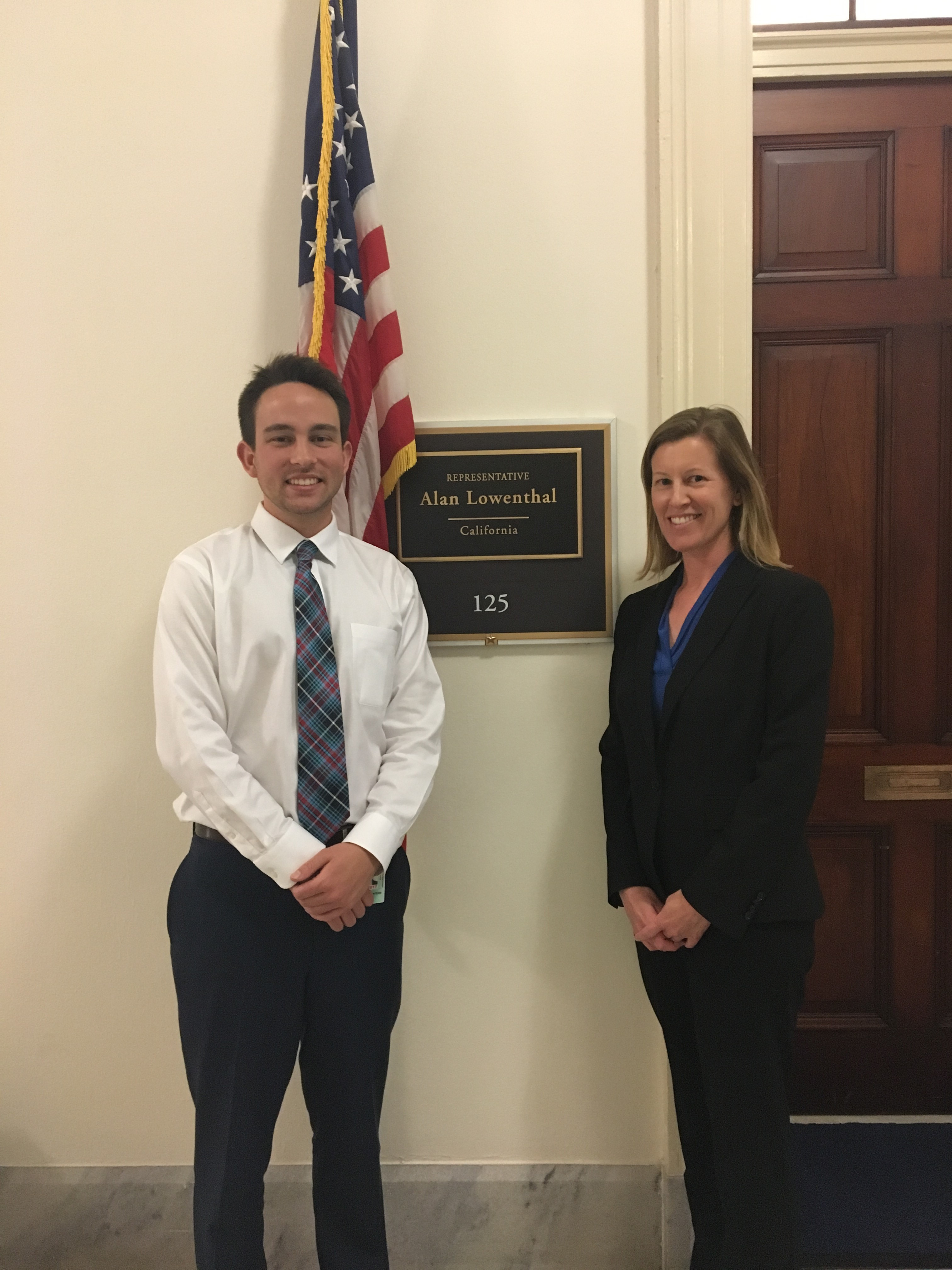 Jennifer Funk (Associate Professor of Biology) and Clayton Heard (Environmental Science and Policy, class of 2016), who is an intern with House Representative Alan Lowenthal.