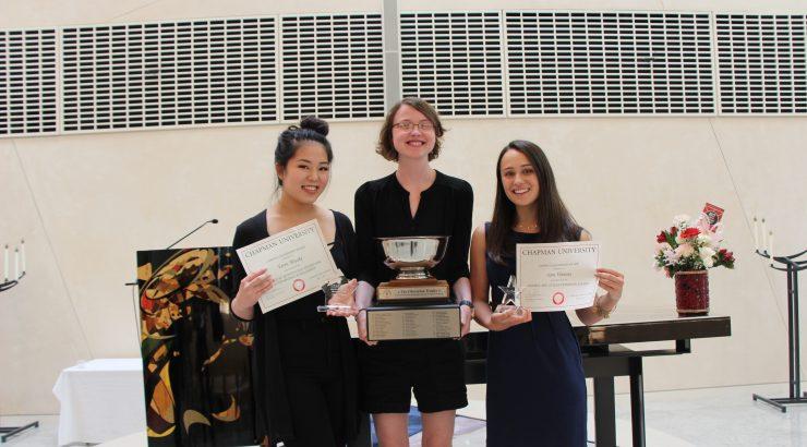 Cheverton winner Taylor Patti (center) with Huntington winner Taryn Miyake (left) and Peterson winner Sara Wanous (right)