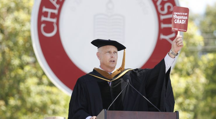 Paul Cook delivers keynote address at Schmid College 2017 Commencement ceremony.