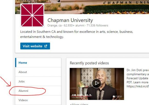 Screenshot of Chapman LinkedIn Page