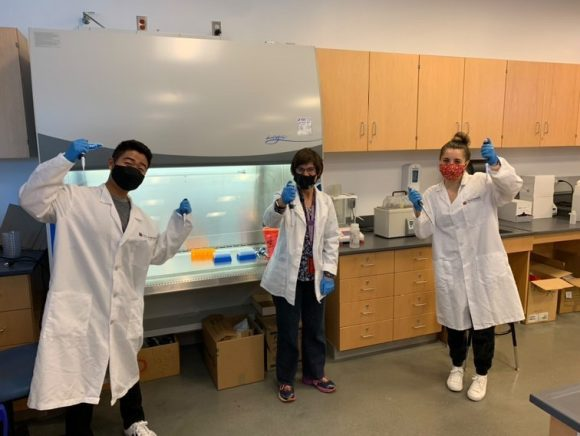students with Dr. Rowland-Goldsmith in Molecular Genetics course