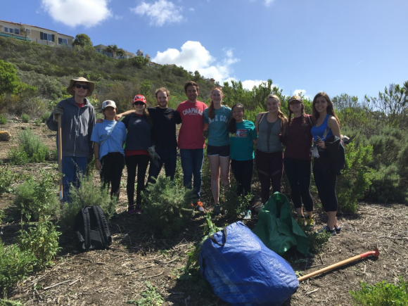 Chapman students volunteering with Project Grow