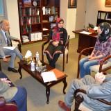 (From the left) Professor Steiner, President Doti, Munira, Shamsi, and Dean Campbell