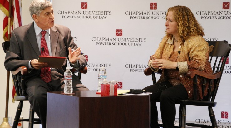 UCLA Law Dean Jennifer L. Mnookin being interviewed at Chapman Dialogue