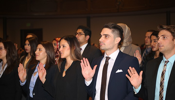 Law students at a bar admission ceremony