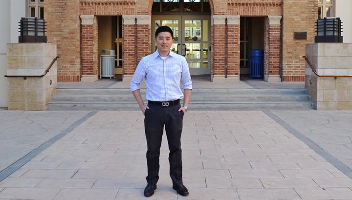 Jonathan Shin outside Kennedy Hall