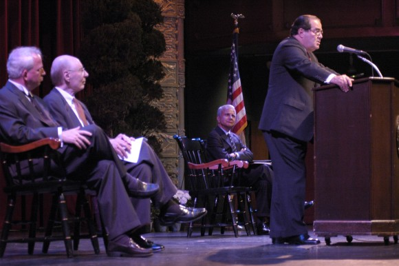Supreme Court Justice Antonin Scalia speaking a podium