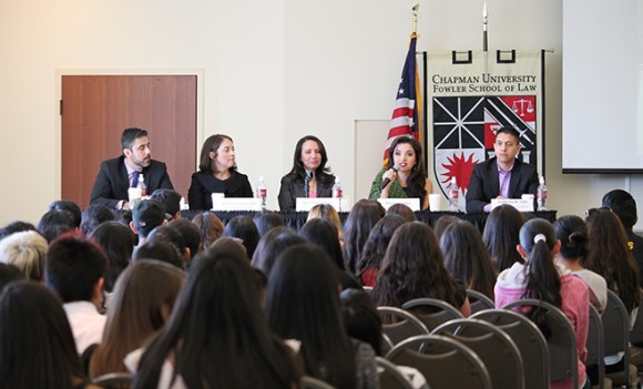panel discussion with law student
